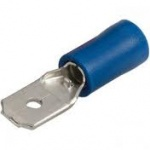 Spade Terminals 6.3mm Male Blue Qty 100