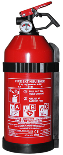 1kg Dry powder fire extinguisher with gauge and fitting bracket.